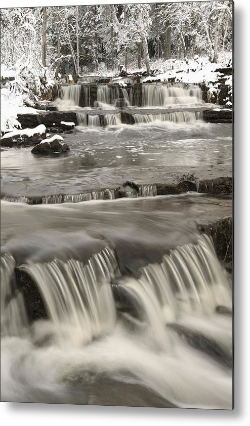 Cascade Metal Print featuring the photograph Waterfalls With Fresh Snow Thunder Bay by Susan Dykstra