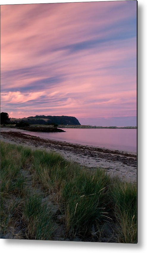Red Metal Print featuring the photograph Twilight After A Sunset At A Beach by Ulrich Schade