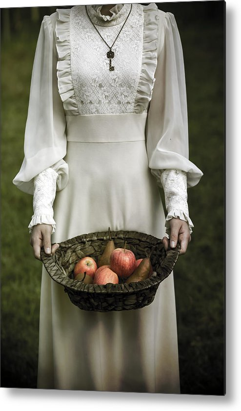 Woman Metal Print featuring the photograph Basket With Fruits by Joana Kruse