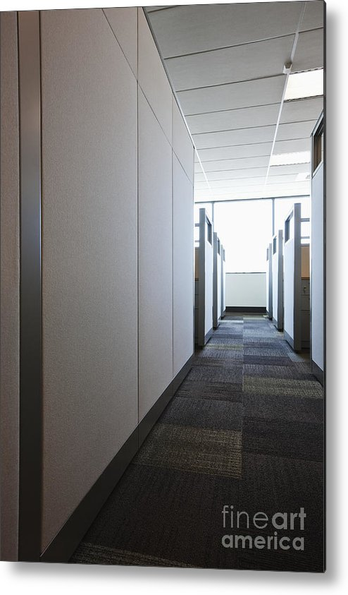 Aisle Metal Print featuring the photograph Carpeted Hall With Office Cubicles by Jetta Productions, Inc