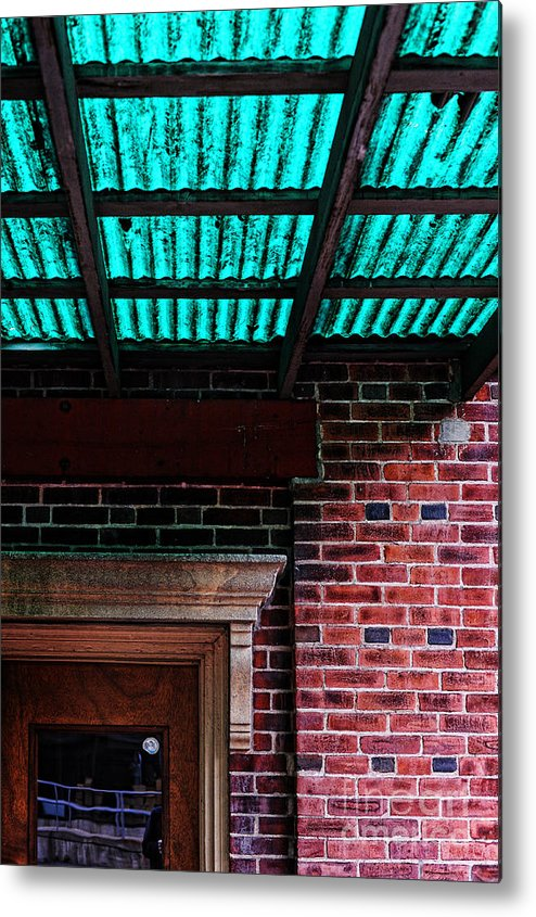Door Metal Print featuring the photograph Door With Green Overhang by HD Connelly