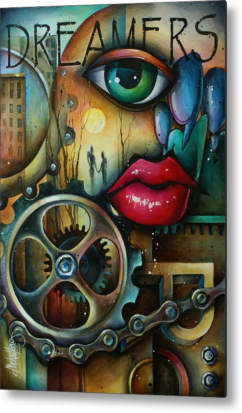 Urban Expressions Metal Print featuring the painting Dreamers 3 by Michael Lang