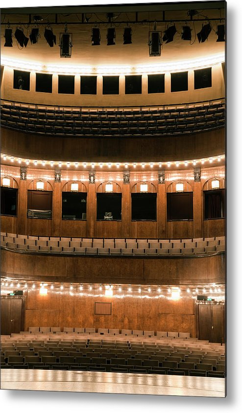 Vertical Metal Print featuring the photograph Empty Seating In An Art Deco Theater by Adam Burn