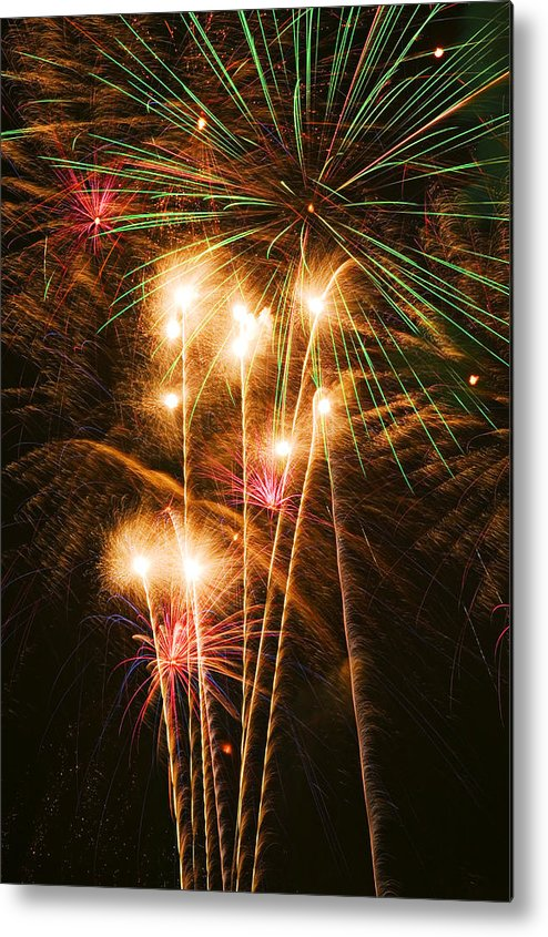 4th Of July Metal Print featuring the photograph Fireworks In Night Sky by Garry Gay