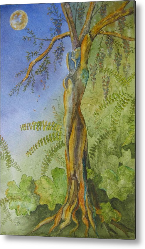 Fantasy Landscape With Figure Metal Print featuring the painting Maiden - Earth Mother Iv  by Patsy Sharpe