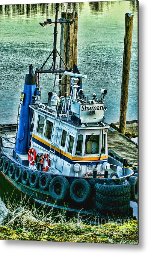 Boats Metal Print featuring the photograph Shaman Tug-hdr by Randy Harris