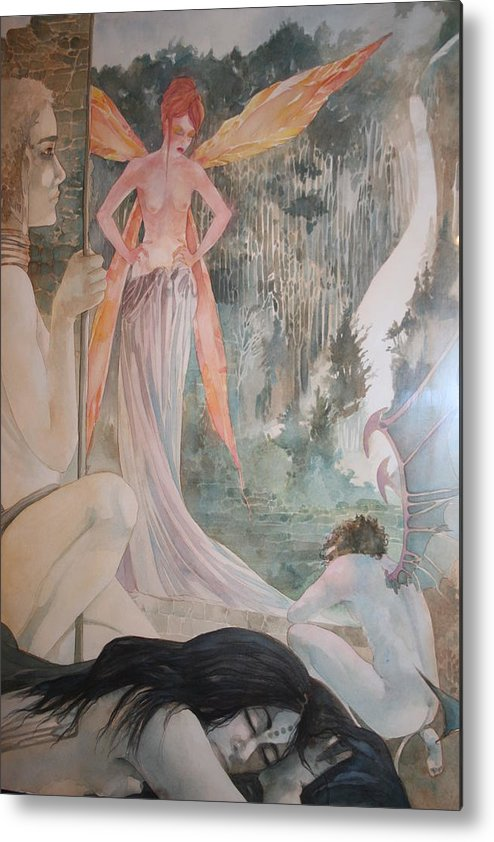 Fairies Demons Dreams Sleep  Metal Print featuring the drawing The Exile by Jackie Rock