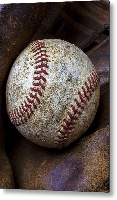Old Mitt Metal Print featuring the photograph Baseball Close Up by Garry Gay