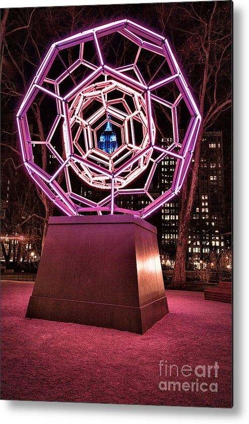 Art Installation Metal Print featuring the photograph bucky ball Madison square park by John Farnan