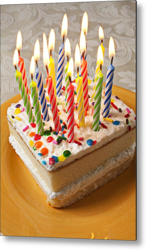 Flame Metal Print featuring the photograph Candles On Birthday Cake by Garry Gay