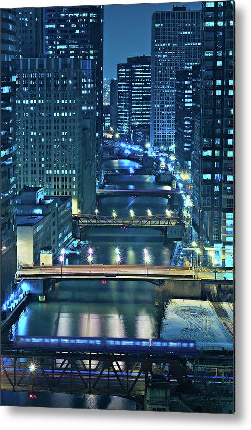 Chicago Metal Print featuring the photograph Chicago Bridges by Steve Gadomski