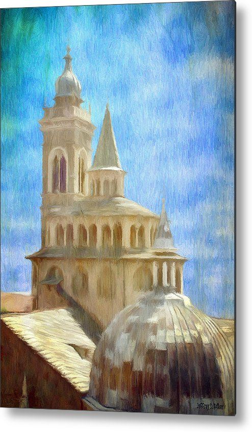 Above Metal Print featuring the painting Citta Alta From Above by Jeff Kolker