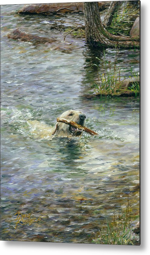 Yellow Lab Metal Print featuring the painting Fetch by Doug Kreuger