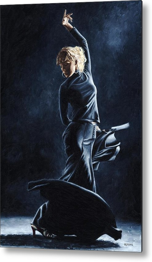 Flamenco Metal Print featuring the painting Flamenco Dexterity by Richard Young