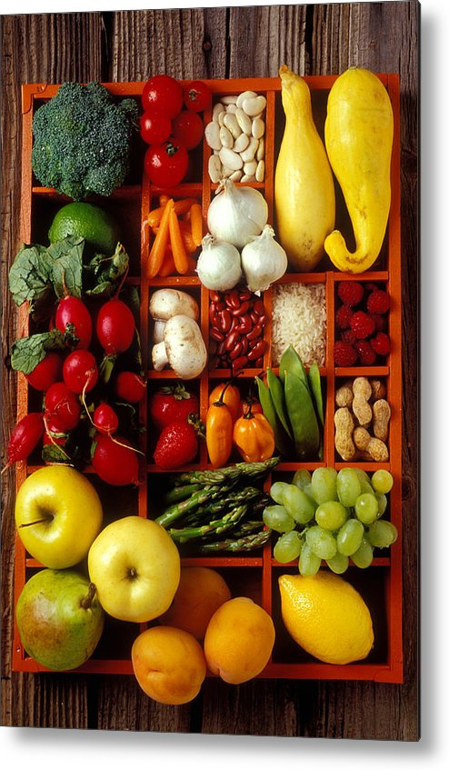 Fruits Vegetables Apples Grapes Compartments Metal Print featuring the photograph Fruits And Vegetables In Compartments by Garry Gay