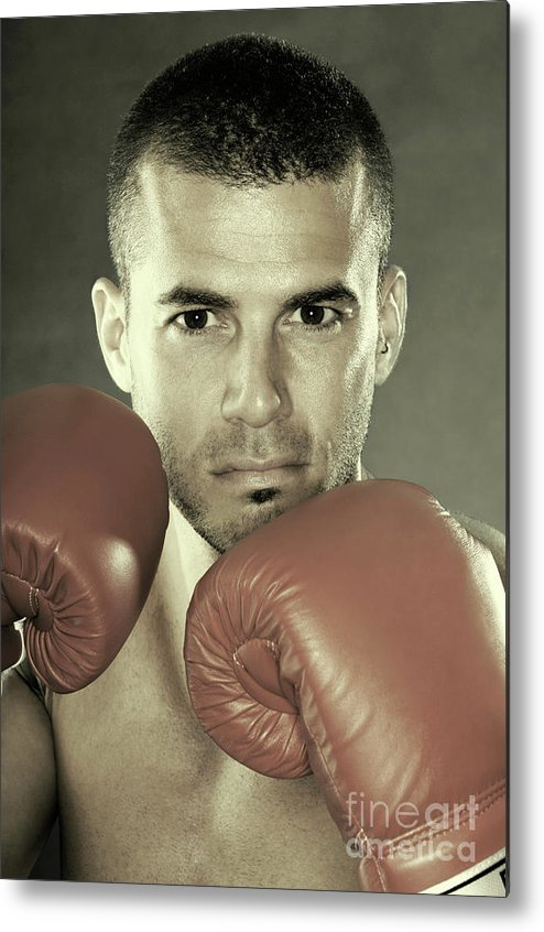 Kickboxer Metal Print featuring the photograph Kickboxer by Oleksiy Maksymenko
