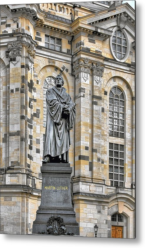 Martin Luther Metal Print featuring the photograph Martin Luther Monument Dresden by Christine Till