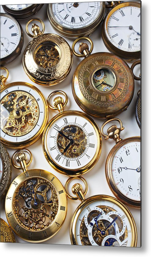 Time Metal Print featuring the photograph Rows Of Pocket Watches by Garry Gay