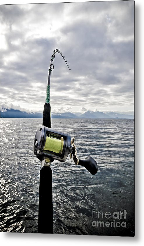 Abstract Metal Print featuring the photograph Salmon Fishing Rod by Darcy Michaelchuk