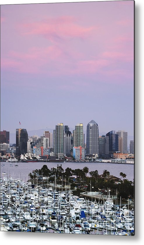Architecture Metal Print featuring the photograph San Diego Skyline And Marina At Dusk by Jeremy Woodhouse