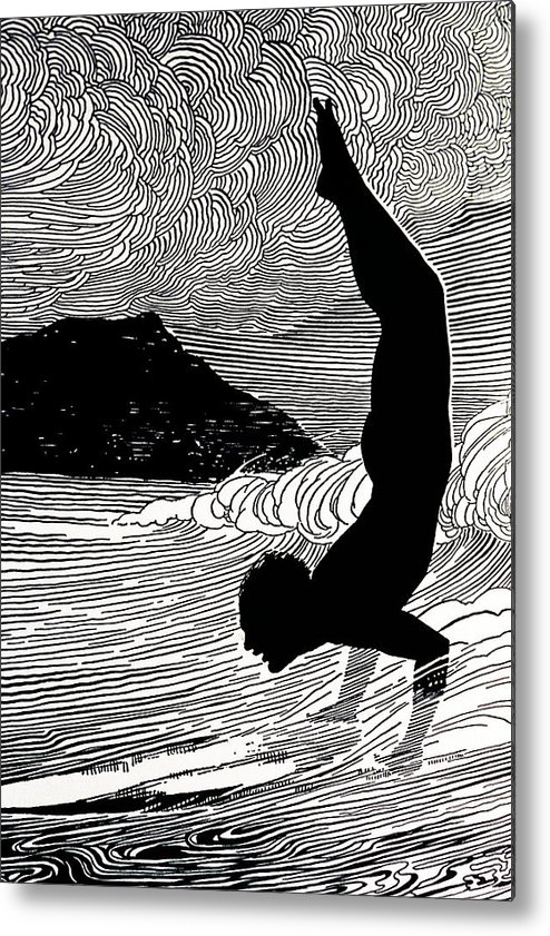 1930 Metal Print featuring the painting Surfer And Waikiki by Hawaiian Legacy Archive - Printscapes