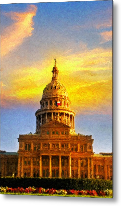 Dallas Metal Print featuring the painting Texas Capitol At Sunset Austin by Jeff Steed