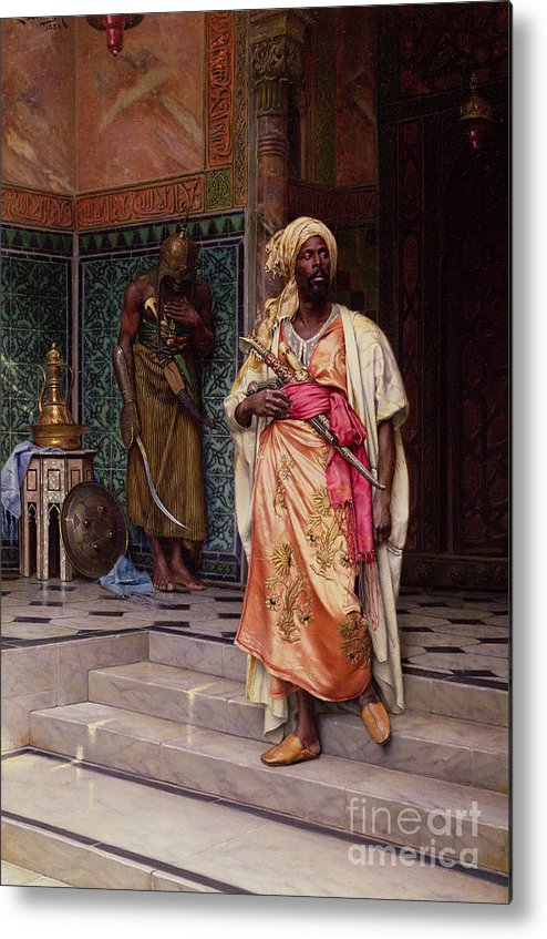 The Metal Print featuring the painting The Emir by Ludwig Deutsch