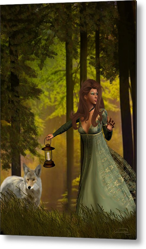 Princess Metal Print featuring the painting The Princess And The Wolf by Emma Alvarez