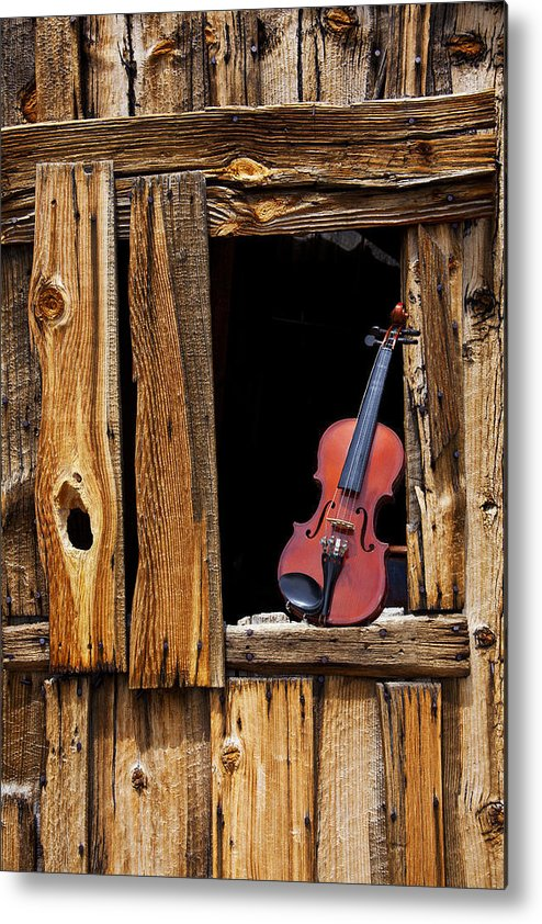 Viola Metal Print featuring the photograph Violin In Window by Garry Gay