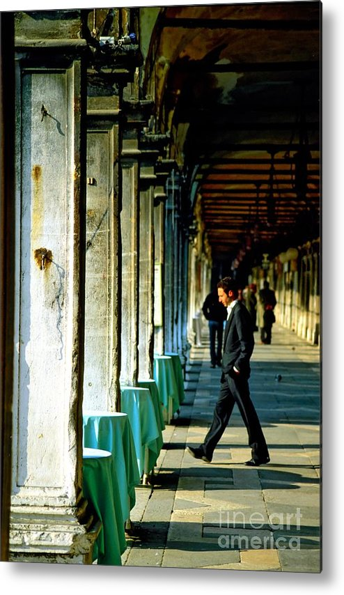 San Marco Metal Print featuring the photograph Waiter Walking At San Marco In Venice by Michael Henderson