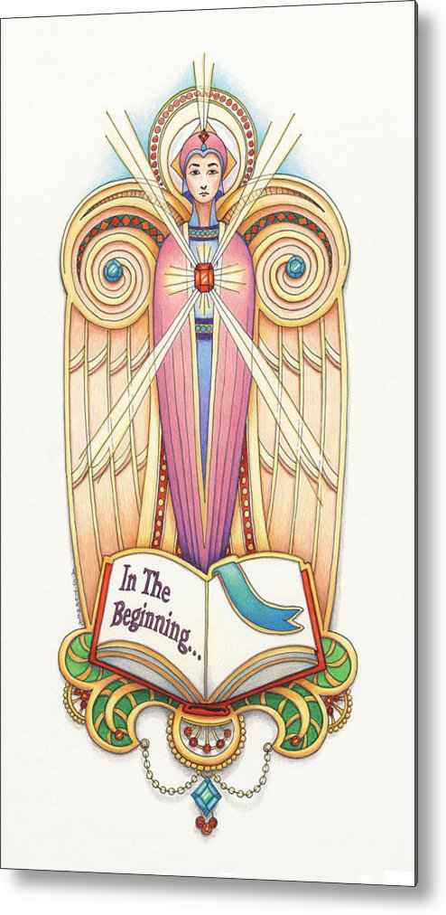 Colored Pencil Metal Print featuring the drawing Scroll Angel - Ionica by Amy S Turner