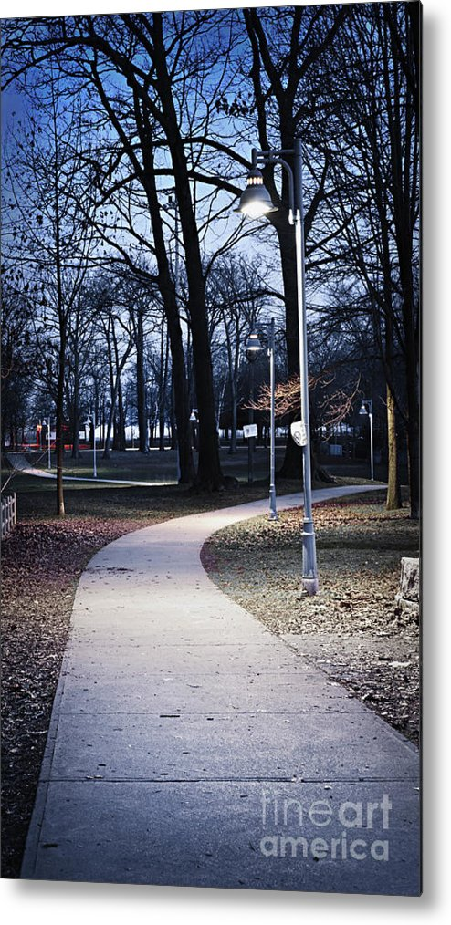 Park Metal Print featuring the photograph Park Path At Dusk by Elena Elisseeva
