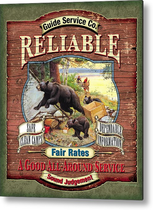 Philip Goodwin Metal Print featuring the painting Reliable Guide Service Sign by JQ Licensing