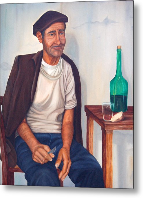 Portrait Metal Print featuring the painting Antonio by AnnaJo Vahle