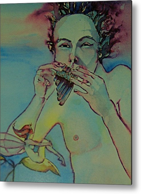 Pan Fairies Fairy Fife Flute Boy Metal Print featuring the drawing Pan by Jackie Rock