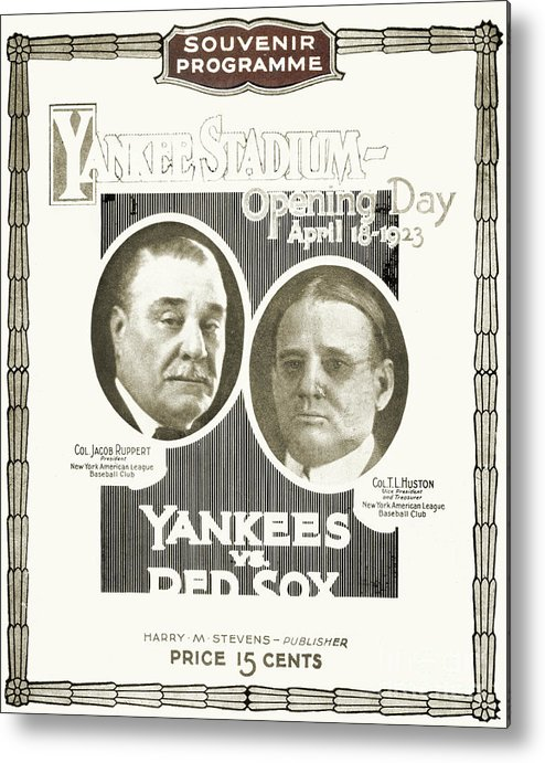 1923 Metal Print featuring the photograph Baseball Program, 1923 by Granger