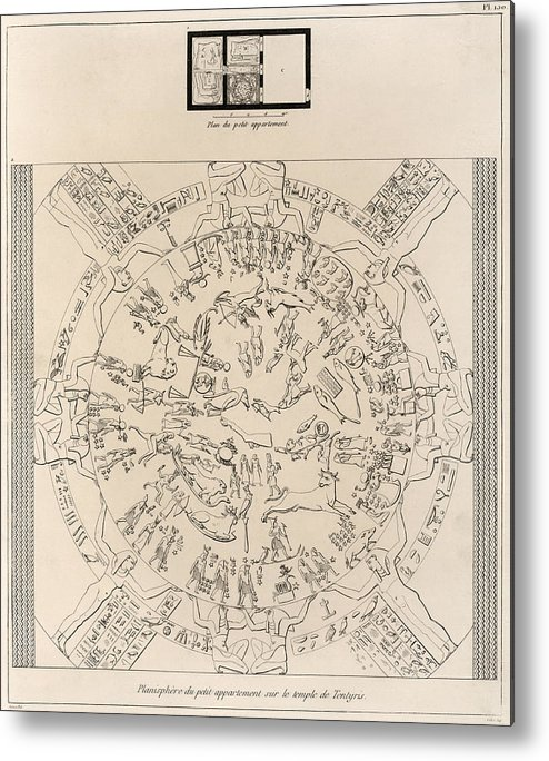 Dendera Zodiac Metal Print featuring the photograph Dendera Zodiac From The Temple Of Hathor by Humanities And Social Sciences Libraryasian And Middle Eastern Division
