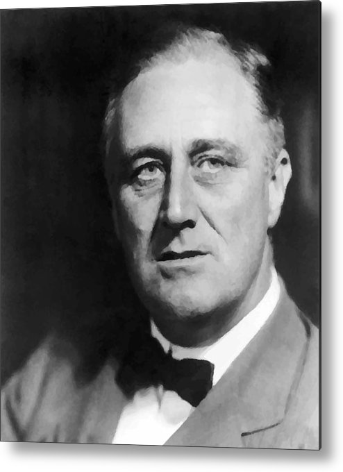 Franklin Roosevelt Metal Print featuring the painting FDR by War Is Hell Store