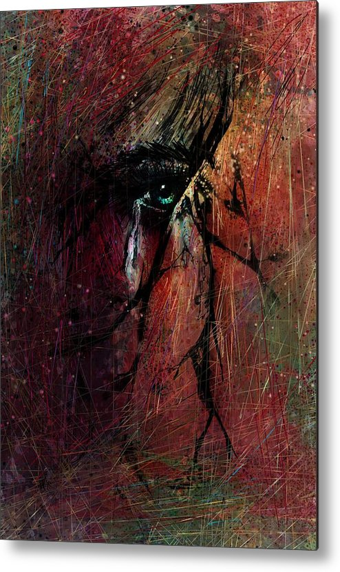 Fracture Metal Print featuring the drawing Fracture by Rachel Christine Nowicki