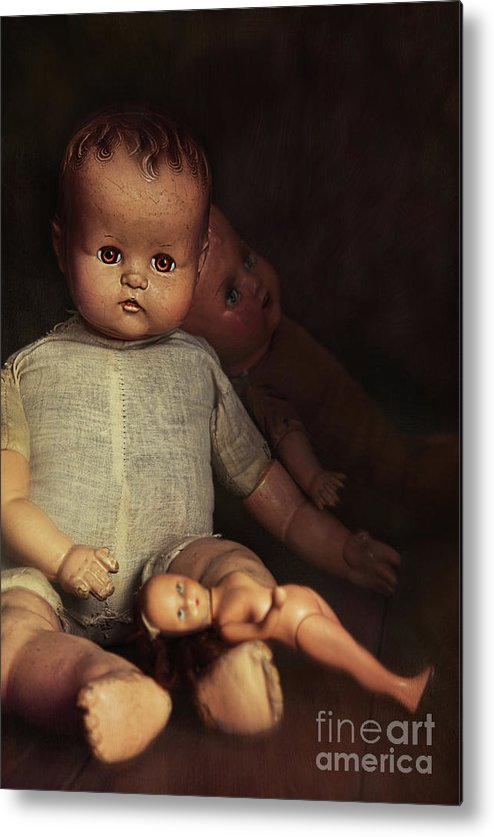 Atmosphere Metal Print featuring the photograph Old Dolls Sitting On Wooden Table by Sandra Cunningham