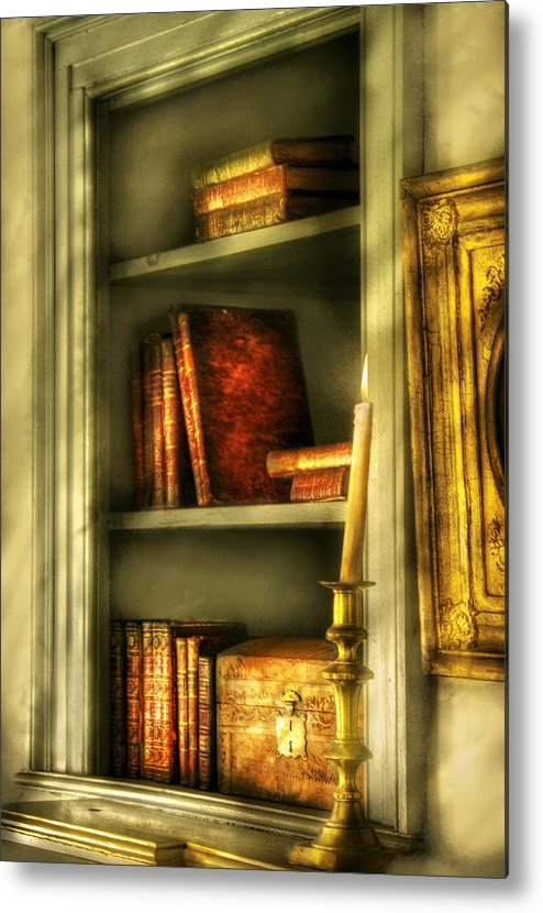Savad Metal Print featuring the photograph Writer - In The Library by Mike Savad