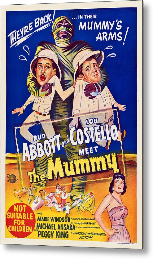 1950s Poster Art Metal Print featuring the photograph Abbott And Costello Meet The Mummy by Everett