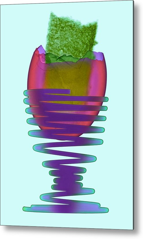 Egg Metal Print featuring the photograph Boiled Egg In An Eggcup, X-ray by D. Roberts