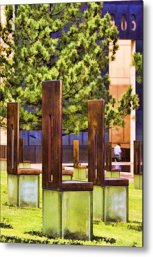 Oklahoma Metal Print featuring the photograph Chairs At The Gate by Ricky Barnard