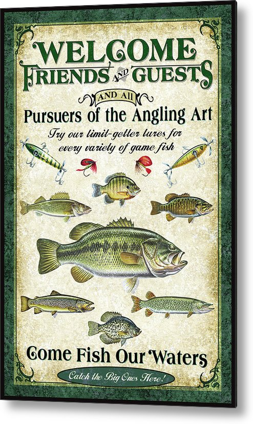 Fish Metal Print featuring the painting Welcome Friends Sign by JQ Licensing