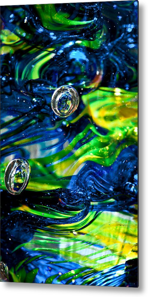 Seattle Seahawks Metal Print featuring the photograph Glass Macro - Seahawks Blue And Green -13e4 by David Patterson