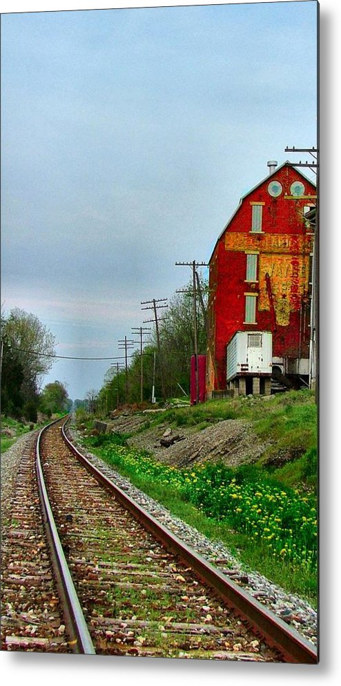 Old Feed Mills Metal Print featuring the photograph Old Mill On The Tracks by Julie Dant