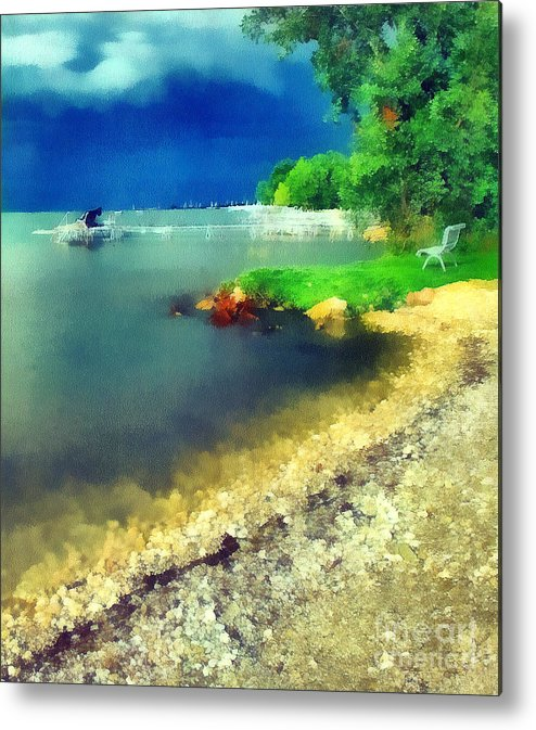 Odon Metal Print featuring the painting Balaton Lake Shore by Odon Czintos