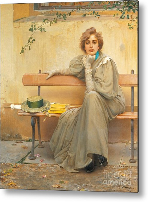 Painting; 19th Century Painting; States Of Mind; Europe; Italy; Corcos Vittorio Matteo; Clothing; Female Figure; Female Portrait; Pretty Metal Print featuring the painting Dreams by Vittorio Matteo Corcos