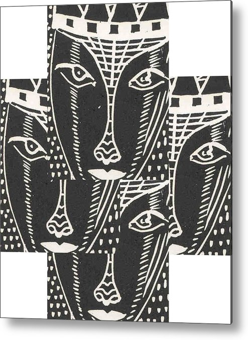 Branko Jovanovic Linoleum Block Print Reliefs Metal Print featuring the drawing Look Me In The Eyes ... by Branko Jovanovic